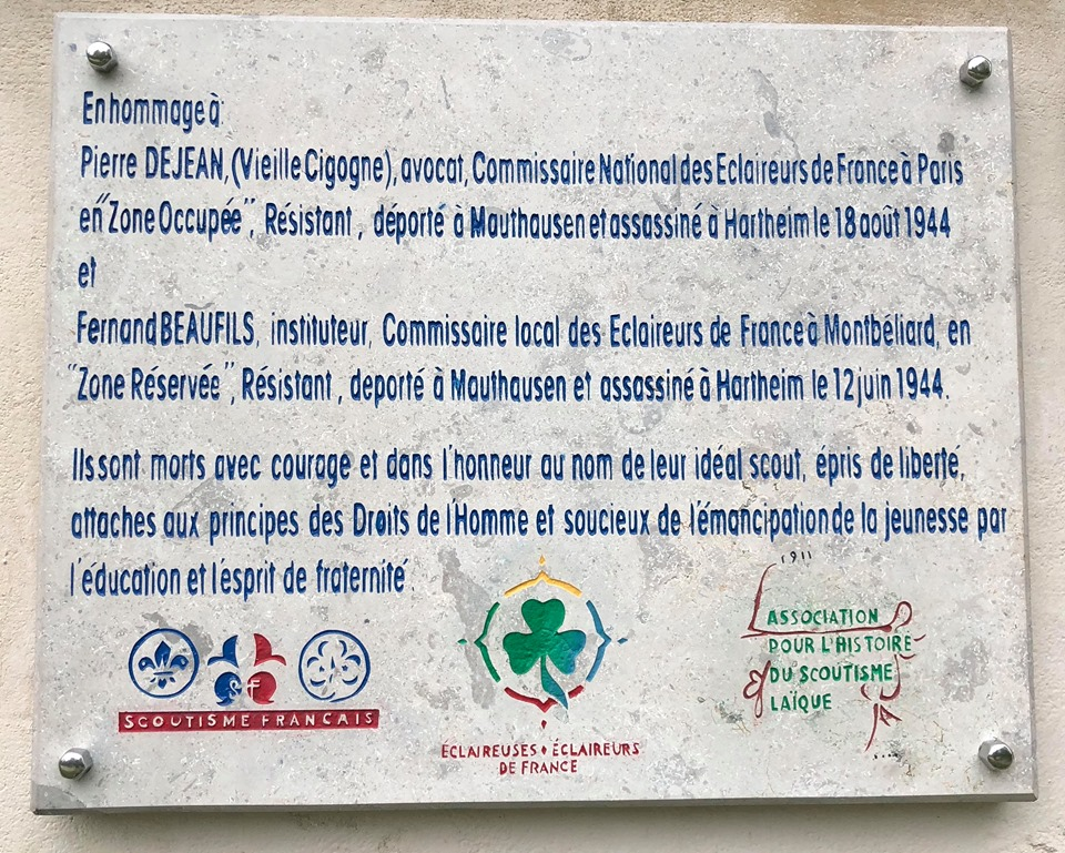 Une plaque en hommage à Pierre Dejean et Fernand Beaufils